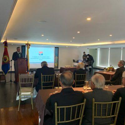 Saludo del Presidente del CGA, señor Vicealmirante Luis Alberto Ordóñez Rubio.